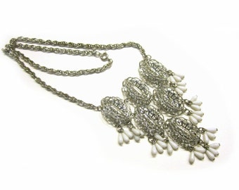 "Vintage Bib Necklace Silver Filigree Dangling White Milk Glass Beads Long 20"" Jewelry Gift Idea Under 25 Holiday Jewelry"
