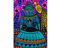 Buddha Original Painting by Heather Galler  Folk Art  Spiritual Enlightenment Black Cat Bird Meditation