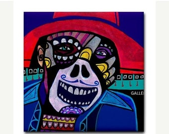 55% Off- Mexican Folk Art Day of the Dead Ceramic Tile Sugar Skull Skeleton