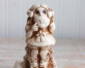 1978 Russ Berrie Big Eyed Girl Figurine Please Be Patient God Isn't Finished with Me Yet, Girl on Roller Skates, Patience Virtue, 1970s Gift
