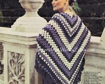 Vintage Crochet SHAWL CoverUp Pattern PDF 807 from WonkyZebra
