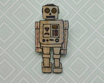Robot illustrated brooch