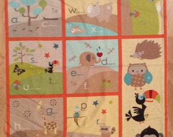 A Wonderful Life In The Jungle Learning My Alphabet Quilting Fabric Panel Free US Shipping