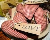 Primitive Folk Art Heart Ornies-Bowl Fillers-Set Of 5