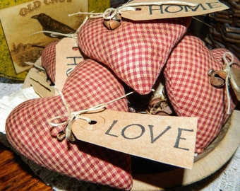 Primitive Folk Art Heart Ornies-Bowl Fillers-Set Of 5