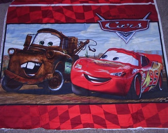 1 Yard (1panel) CARS Cotton Fabric PANEL BTY Red Lightning McQueen Mater
