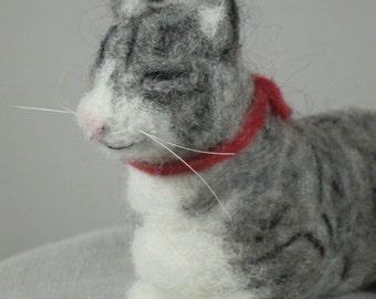 Needle Felted Gray Tabby Cat