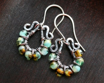 Aqua blue-green and brown wire wrapped earrings, dangle hoops, oxidized copper and sterling silver, beaded, drop, Mimi Michele Jewelry