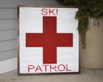 Ski Patrol 3 D Cross Red and White Distressed Framed Wood Sign