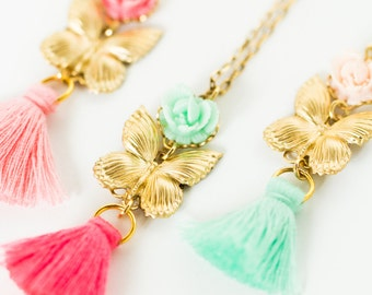 Girls Butterfly Tassel Necklace, Girls Rose Tassel necklace, Girls Jewelry