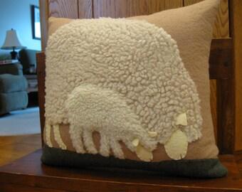 Sheep in the pasture....Grazing Ewe and Lamb pillow...handmade
