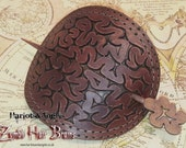 Steampunk essential Brain cooling Device! Hand crafted Brown Leather Hair barrette
