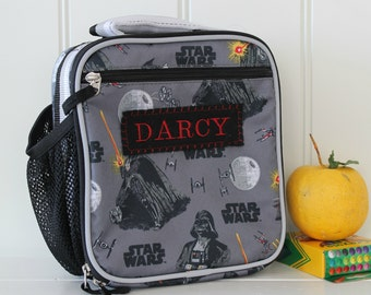 Star Wars Lunch Bag With Monogram Upcycled Pottery Barn Classic  -- Darth Vader Print