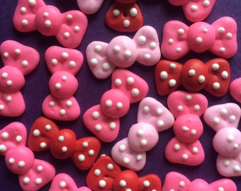 Royal Icing Bows with Polka Dots- Available in any color- Small Size- (25)