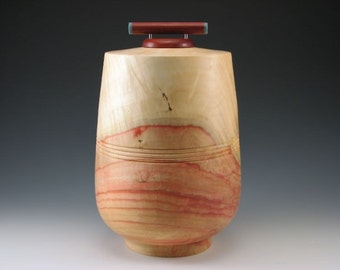 Red Box Elder Vessel - Cremation Urn - Pet Urn - Wood Vessel