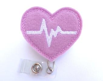 Retractable badge holder - nurse badge holder - Heartbeat EKG light purple felt with white - doctor RN nurse badge reel medical staff