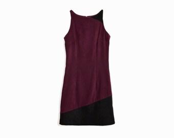 Vintage 90s Party Dress In Burgundy & Black  / 90s Mini Dress - women's xs