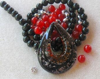 Murano Glass Pendant, Black Onyx, Jade Beads, Czech Glass,  DIY Jewelry Kit, Craft Supplies, Necklace Kit, Bead Kit, Jewelry Making Beads