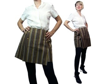 1960s Dutchmaid Striped Scooter Skirt in Brown with Gold and White Stripes Small