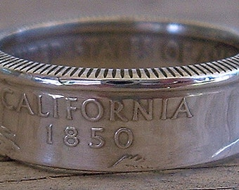 2005 Silver California State Quarter Coin Ring (90% Silver) (Available in sizes 4 through 9)