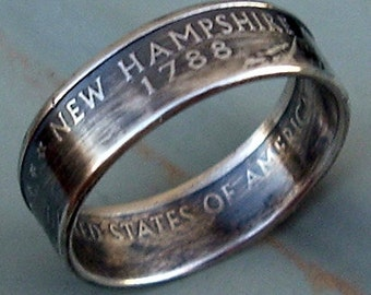 2000 Silver New Hampshire State Quarter Coin Ring (90% Silver) (Available in sizes 5 through 9)