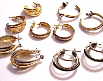 Gold Silver Hoop Detash Lot Vintage Pierced Post Earrings Slotted Ribbed Twisted Bands Black Coated Dangles