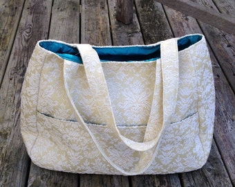 Cream jacquard purse