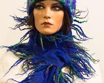 Felted scarf collar necklace multicolor blue green felt dreads wool colorful scarf fringes wool autumn boho Regina Doseth handmade in EU