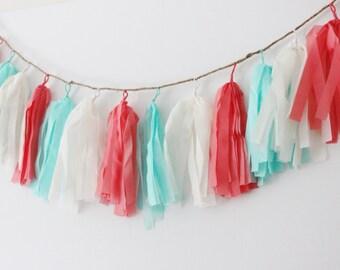 CORAL AQUA BLUE White Tassel Garland /No Assembly Readymade Sturdy Ribbon Tassels Bunting Baby Shower Bridal Nursery Photo Prop Wedding