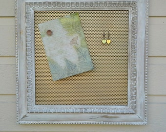 Earring holder, beautiful wood frame with detailed molding, painted and antiqued with a gold magnetic insert for jewelry storage and photos