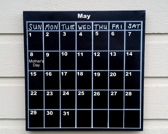 Magnetic ChalkBoard reusable calendar, black with white permanent squares and days of the week, sheet metal over a box style frame