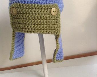 Crochet boys aviator hat