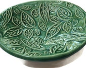 "For Tasha Oval Green stamped leaf dish 4.5"""