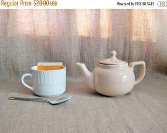 Happy 4th with 40% Off Vintage Sterling Teapot / Sterling Vitrified China Teapot in Sand / 1956 Sterling China Teapot