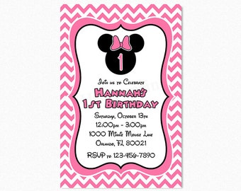 Minnie Mouse Birthday Party Invitation, Pink Black White, Chevron, 1st Birthday, Printable and Printed