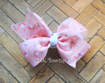 Flamingo classic XL bow....coral and white colors