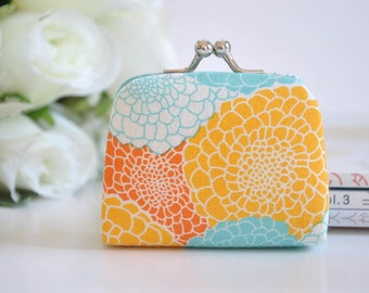 Juicy Blossoms in Fruity - Tiny Kiss lock Coin Purse/Jewelry holder