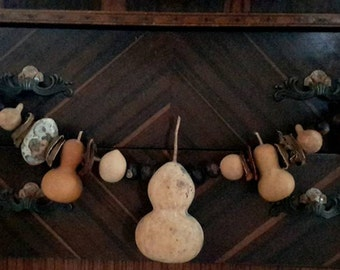 Primitive Gourd Garland with nuts and dried fruit, Pie Safe Decor, primitive pantry free shipping