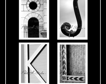 Letter I, J, K, L - Architectural Alphabet 4 X 6 Black and White Print Free shipping on 2 ore more