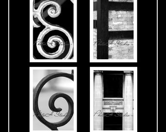Letter E, F, G, H - Architectural Alphabet 4 X 6 Black and White Print free shipping on 2 or more