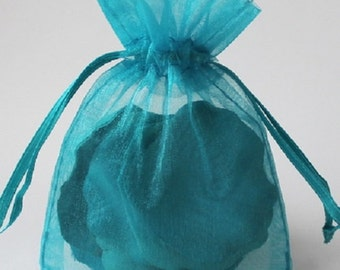 Wedding Favors Table Decorations Teal Turquoise BLUE 3x4 Organza Bags 100