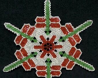 Digital PDF File Set of 5 Bead Stitch Patterns in Brick Stitch Beaded Kaleidoscope Ornaments Suncatchers