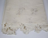Vintage French Linen Sheet. Scalloped Edge Hand Embroidered Initials DB.