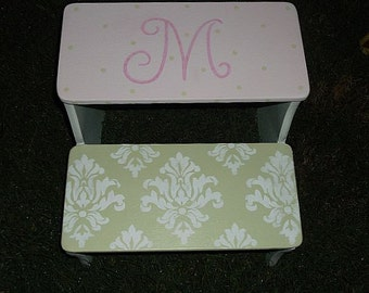 Steps & Stools, Kids Furniture, Pink Green Peonies, Bathroom Stool, Childrens step stools, Custom  Personalized Gifts, Baby Shower Gift