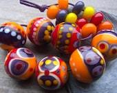 Volcano - Handmade Lampwork Bead Set (17) by Anne Schelling, SRA