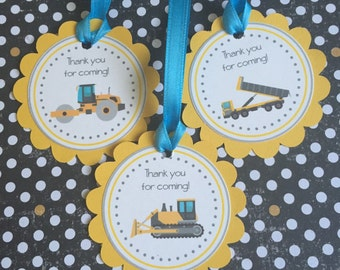 Construction Party Tags, Dumptruck Gift Tags