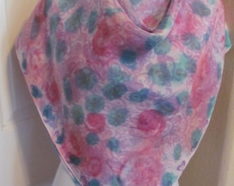 """Beautiful Colorful Tie Dye Large Silk Scarf // 35"""" Inch 90cm Square // Best of the Best"""