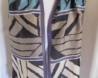 """Oscar de la Renta // Beautiful Black Beige Silk Scarf // 12"""" x 50"""" Long"""