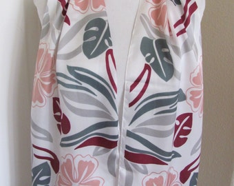 """Designer Beautiful  White Floral Poly Scarf   // 11"""" x 52"""" Long"""