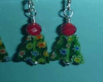 Millefiori christmas tree earrings with sterling silver hooks